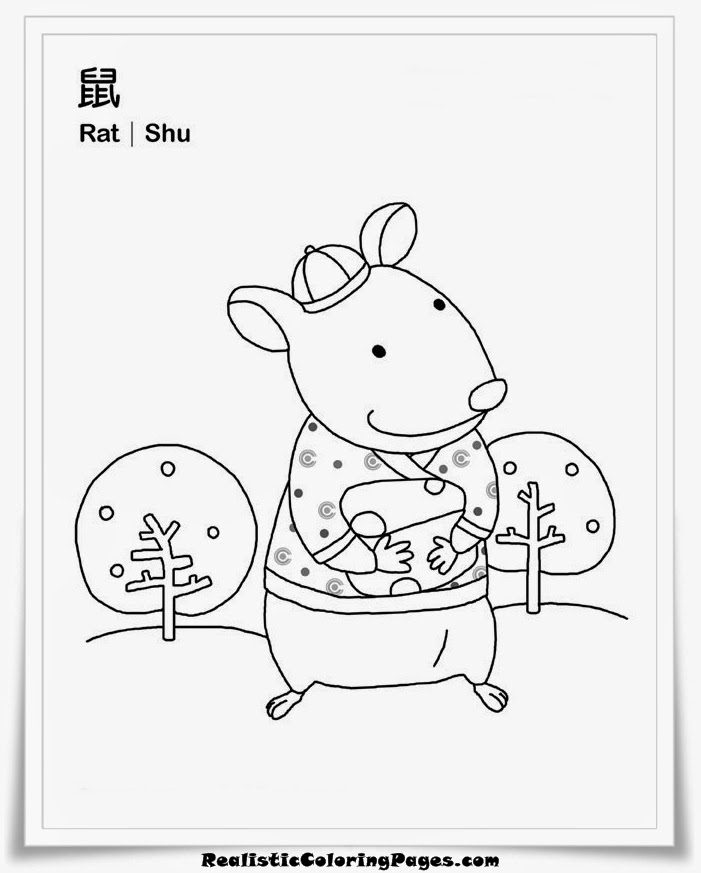vietnamese zodiac coloring sheet rat