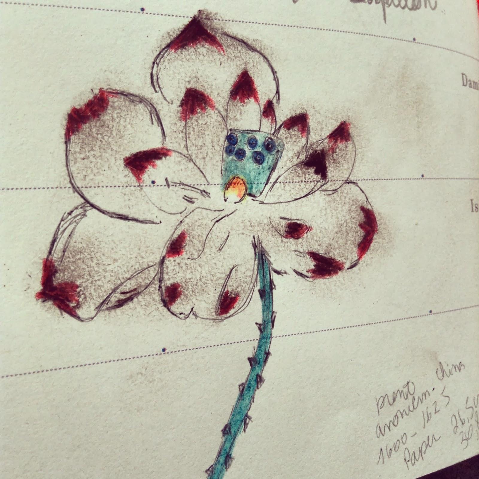 dessin croquis fleur pour broderie
