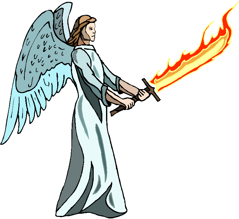 Angel Hold Fire Sword Free Clipart