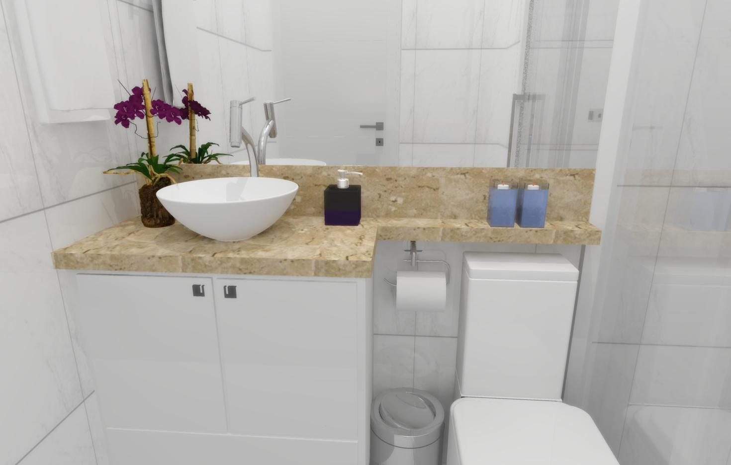 Banheiros e Lavabos  Seu Sonho Desenhado -> Banheiro Pequeno Marmore