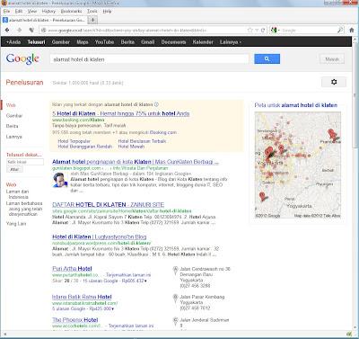 "Hasil SERP di Google dengan kata kunci ""alamat hotel di klaten"""