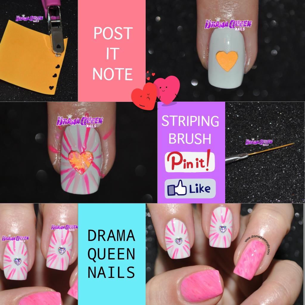 Drama Queen Nails: Post it note decals #heartburstmani