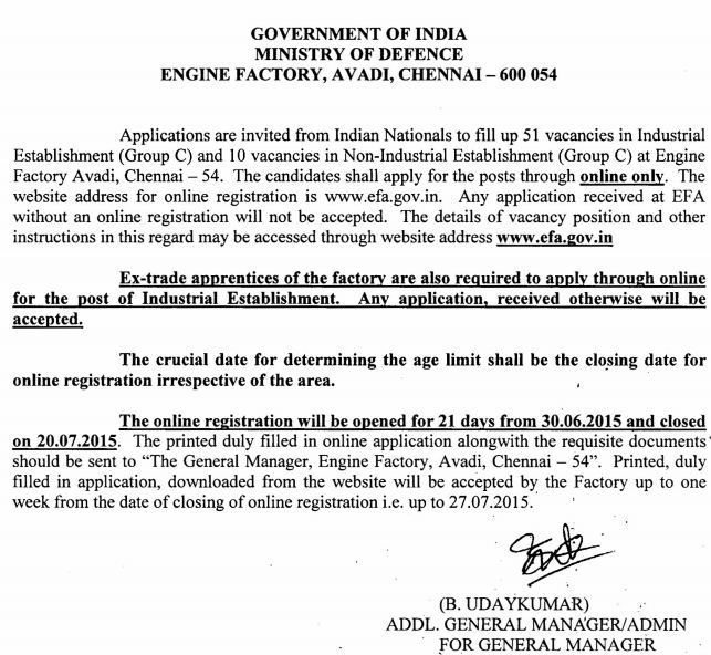 Engine Factory Avadi (EFA) Recruitments (www.tngovernmentjobs.co.in)