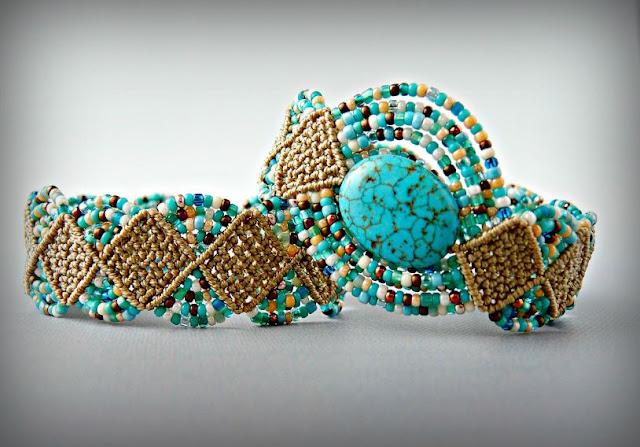Woven Diamonds micro macrame bracelets by Sherri Stokey.