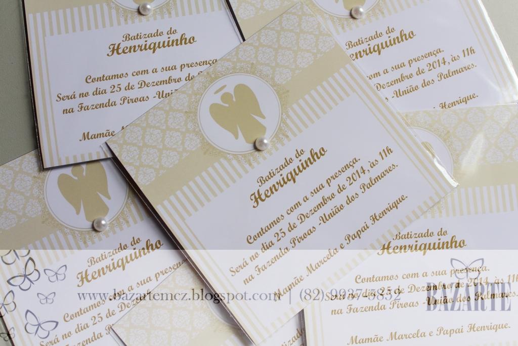 Bazarte Natállia Guimarães Party Planner Convites Batizado