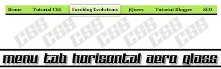 Menu Tab Horisontal Aero Glass CSS3 di Blog