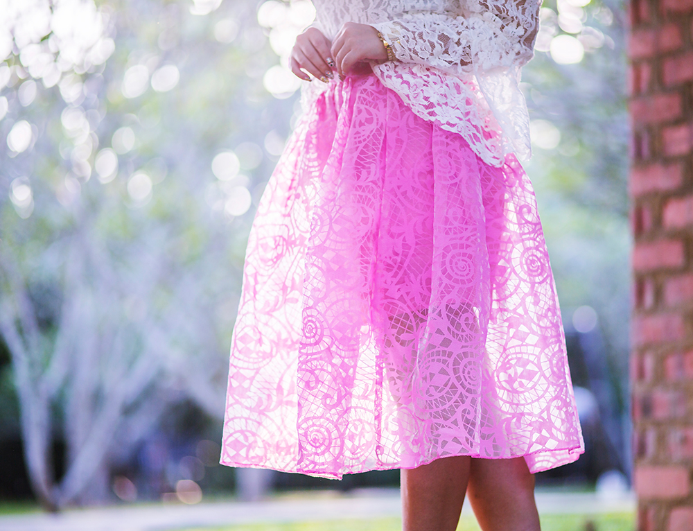 Crystal Phuong- Singapore Fashion Blog- Beautiful pink midi chiffon skirt