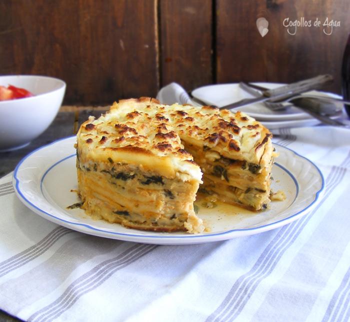 Pastel de crepes con acelgas y queso cogollos de agua - Ingredientes para crepes ...