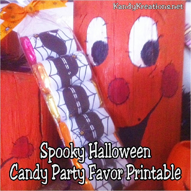 Hand out a great party favor to your guests with this Spooky Halloween candy party favor.  Using a few Hershey miniatures, a free Halloween printable and a pretzel bag, you can make a treat that your guests will remember and love.