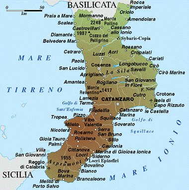 Calabria Map Political Regions Italy Map Geographic Region