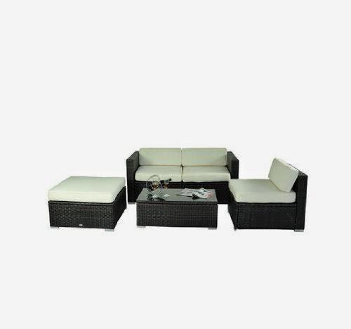 outsunny deluxe outdoor patio pe rattan wicker 5 pc sofa. Black Bedroom Furniture Sets. Home Design Ideas