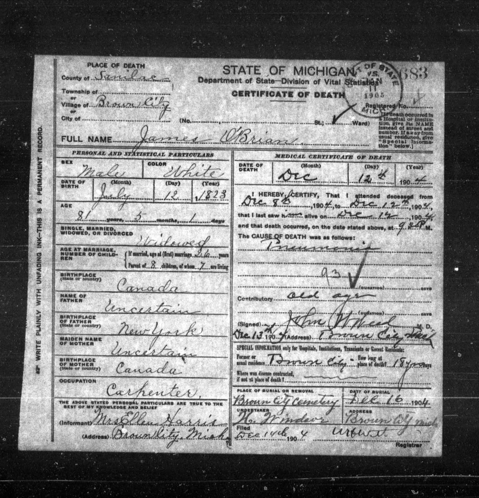Climbing My Family Tree: Death Certificate: James O'Brian (December 12, 1904)