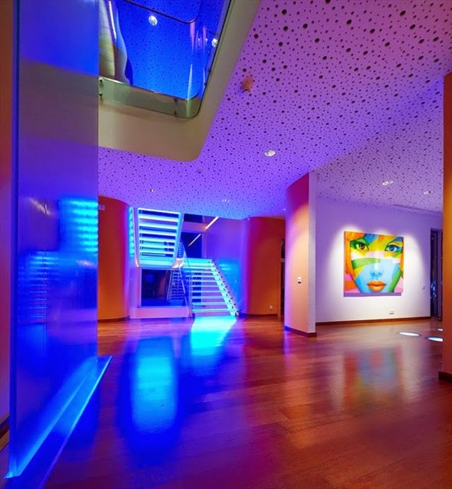 False Ceiling Designs For Living Room: Living Room With Blue LED Lighting