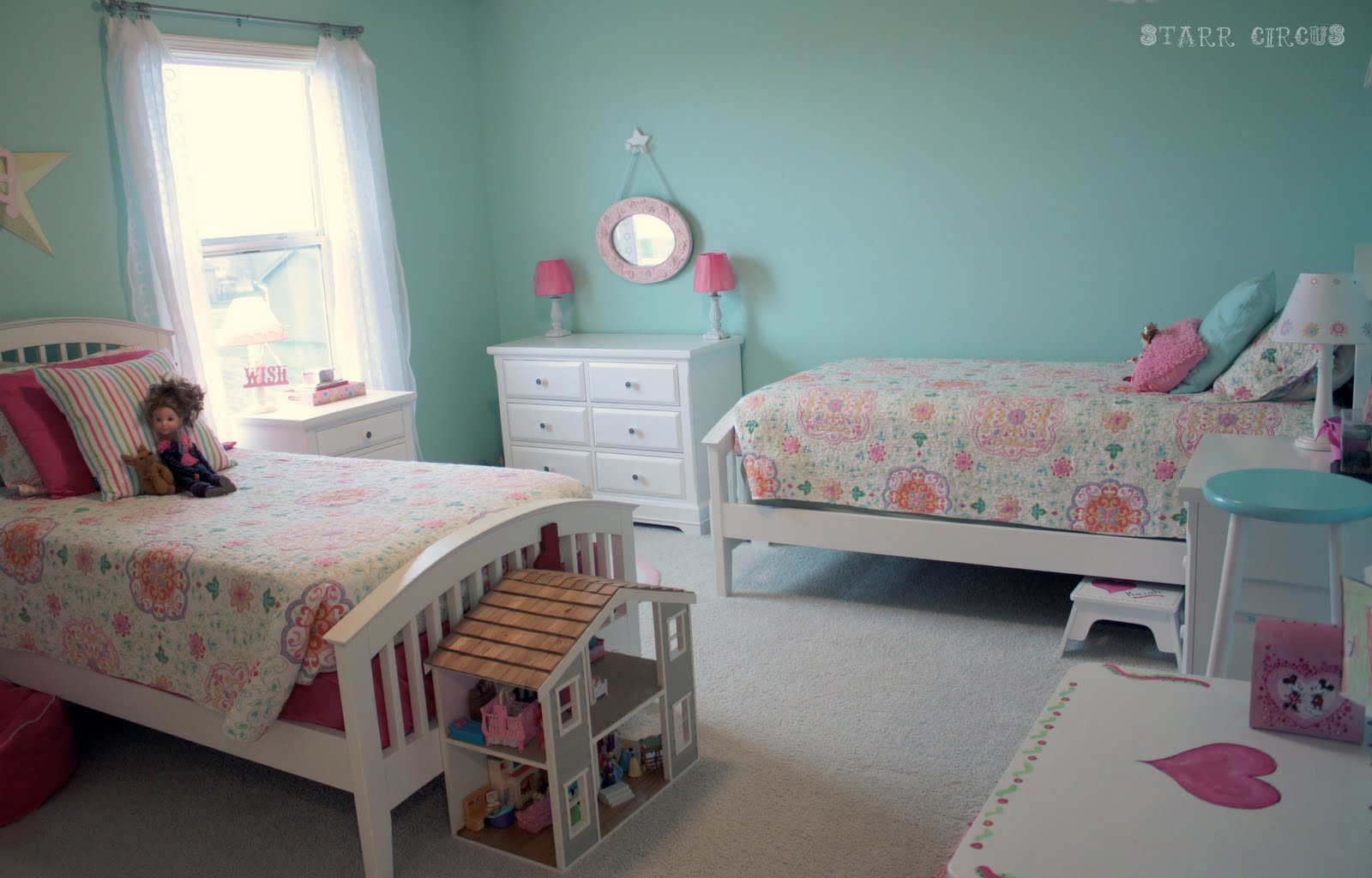 This could work for boy also stained wood and for Bedroom ideas for girls sharing a room