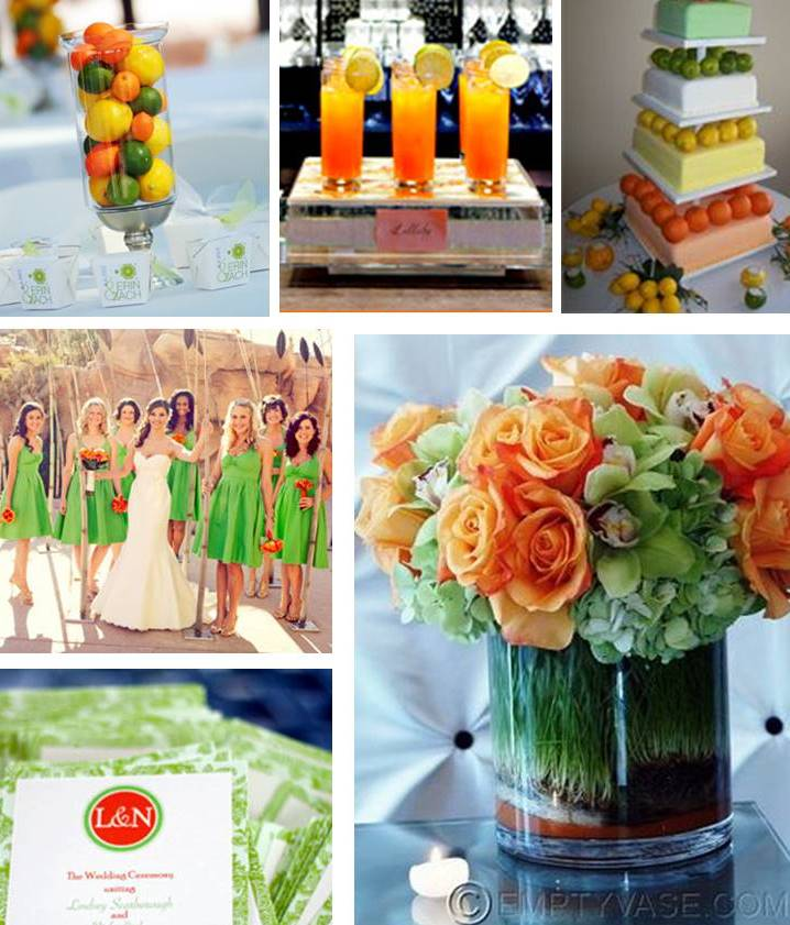 orange and green wedding theme