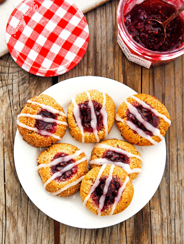 Raspberry Almond Thumbprint Cookies with Lemon Glaze
