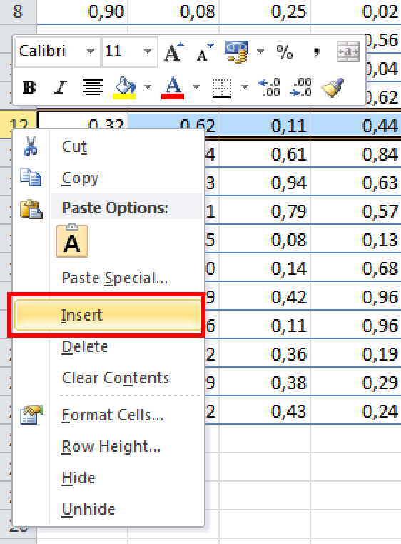 how to go to a row in excel