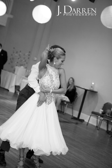photo of the bride and grooms first dance at Twelve West Main in Thomasville NC