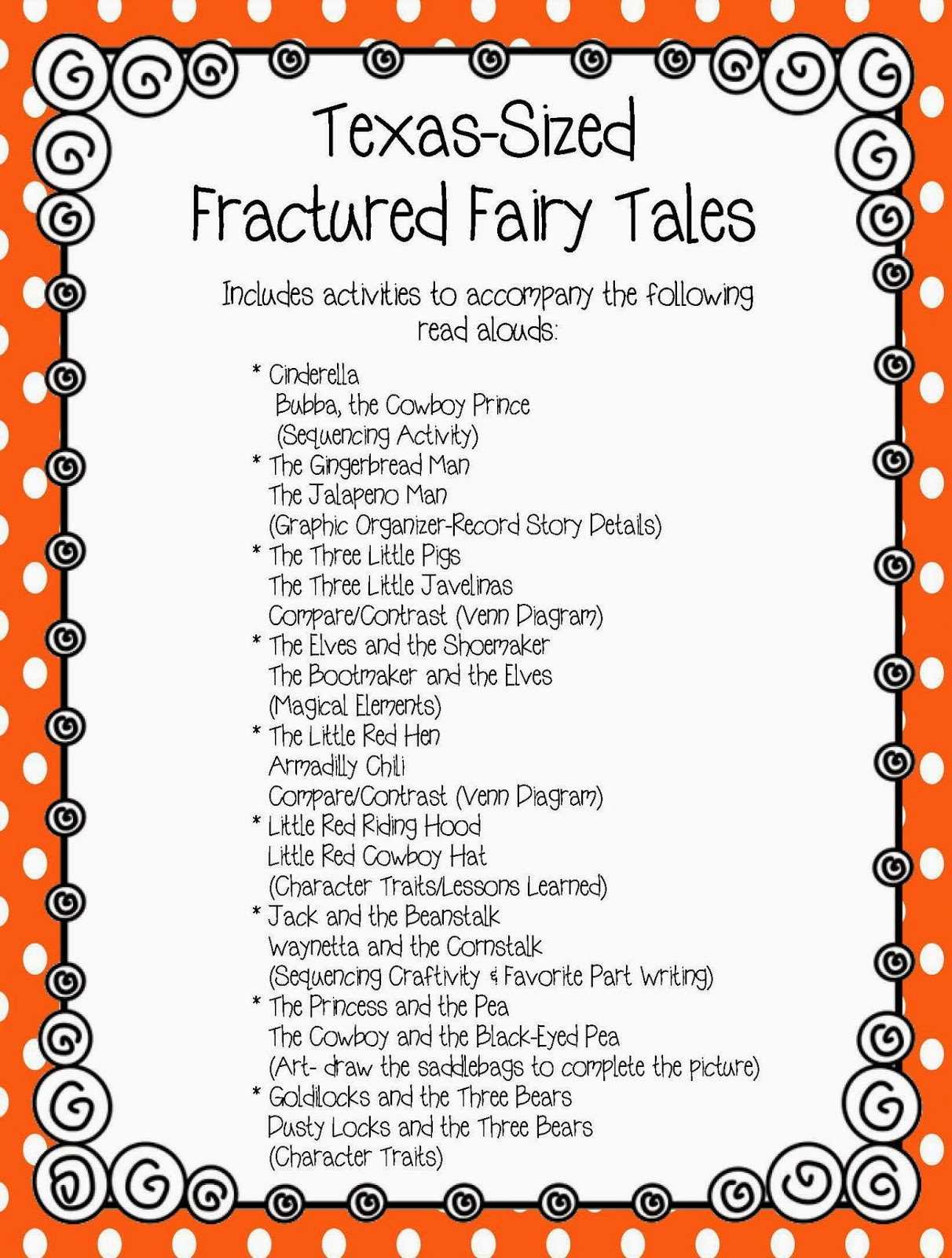 The Fractured Fairy Tales Included In This Unit Resource Contains Literacy Activities To Accompany Read Alouds