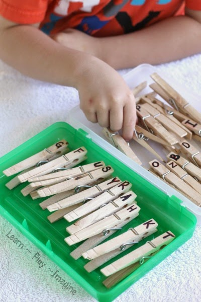 Alphabet clothespins - DIY manipulative for preschool and kindergarten