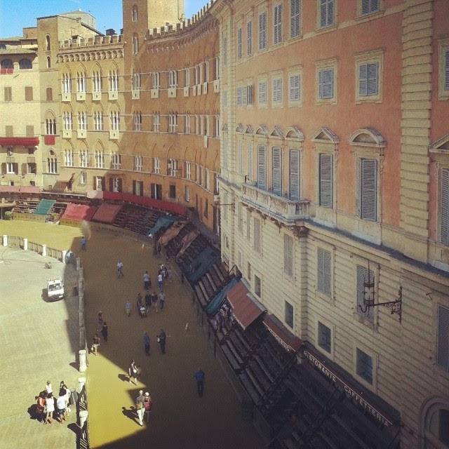 The race track on piazza del Campo on the morning of the July Palio