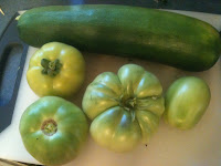 green tomatoes and zucchini
