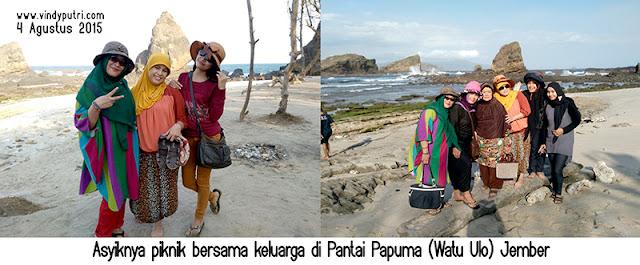 Asyiknya piknik bersama keluarga di Pantai Papuma (Watu Ulo) Jember