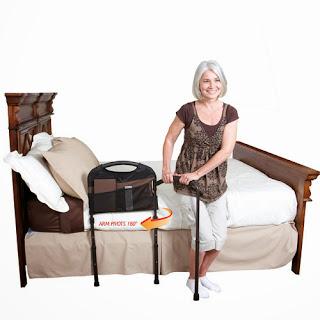 Bed grab bar and organizer