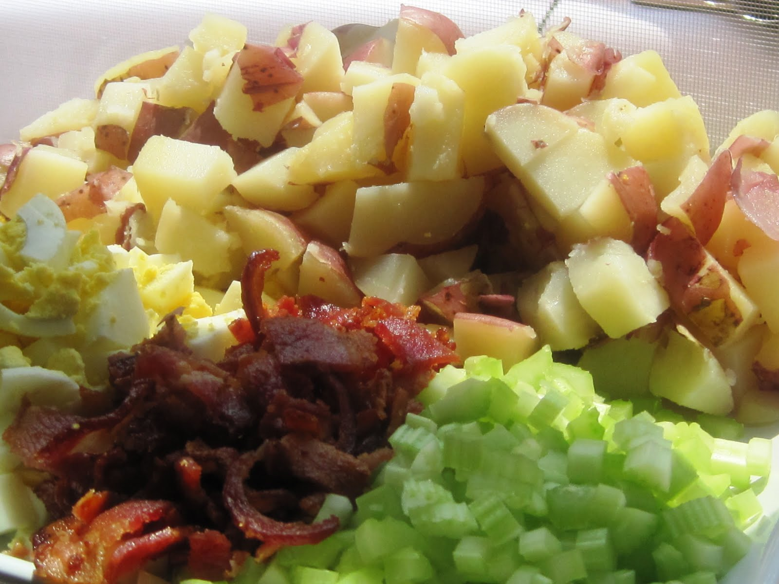 Taste the Rainbow: Baby Red Bliss Potato Salad with Bacon, Eggs, Red ...