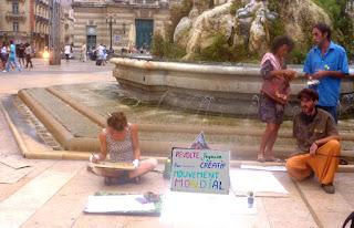 Montpellier : les indignés et leur atelier de dessin