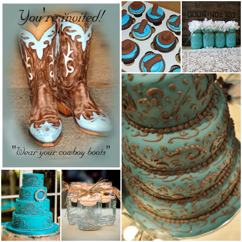 Aqua Blue Country Western Sweet Fifteen Theme Quince Candles