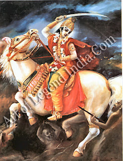 Kalki, the horseman of doom, Vishnu's final avatar who heralds the end of a world-cycle, kalpa