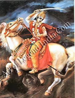 Kalki, the horseman of doom, Vishnu's final avatar who heralds the end of a world-cycle, kalpa