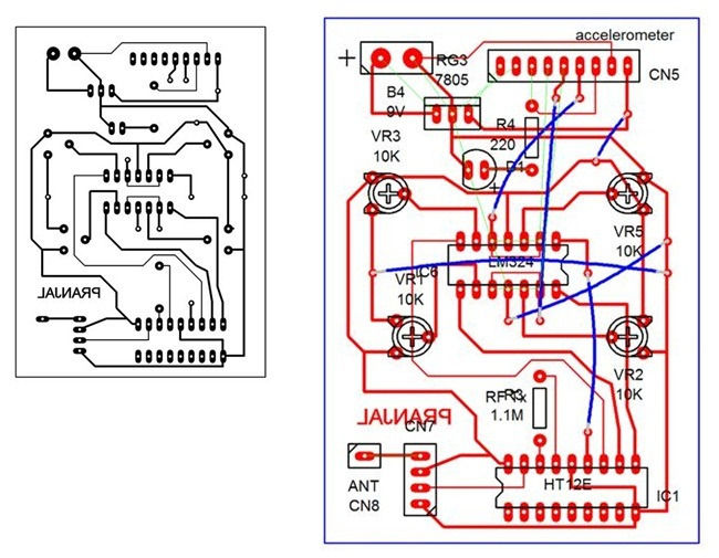 Wireless gesture controlled robot using at89s52 transmitter pcb ccuart Choice Image