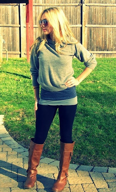 Grey sweater, sunglasses, black leggings and brown long boots style for fall