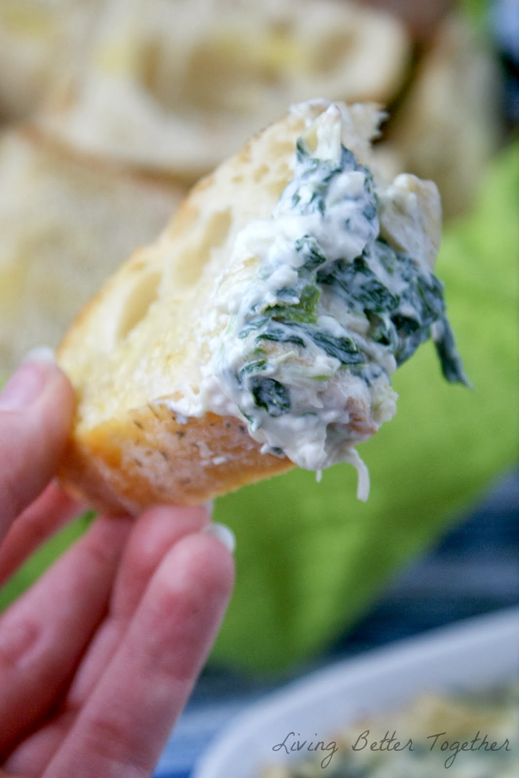 Baked Spinach & Artichoke Dip with Bread for www.anyonita-nibbles.com by Living Better Together