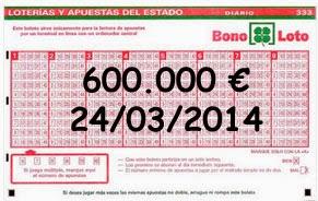 Bonoloto, sorteo del lunes 24 de marzo de 2014