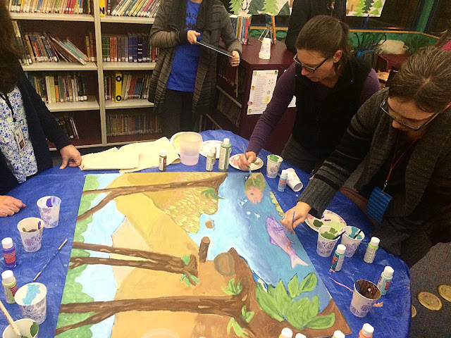 portland muralist, mural seminars, murals with students, murals in the classroom, elementary school mural