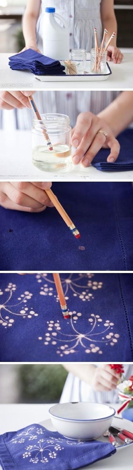 como pintar tecido usando água sanitária