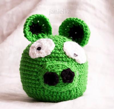 Angry Birds - zielony - szydełkowe maskotki