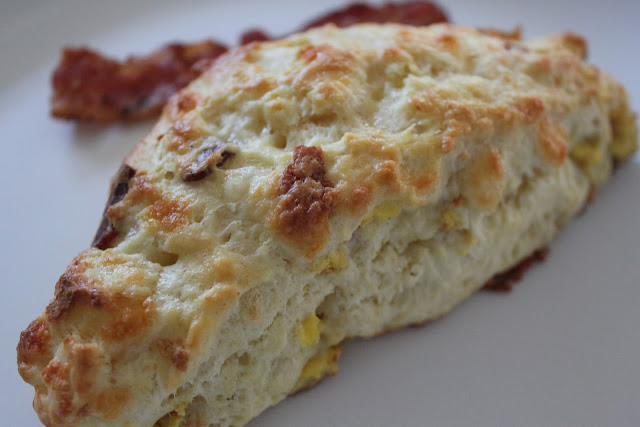 Bacon, egg, and cheese scones