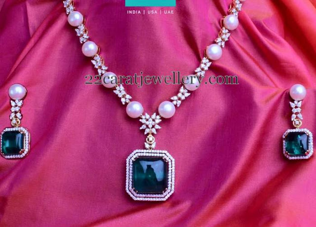 Pearls Set with Green Emerald Dollar