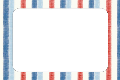 Azul  Vermelho E Branco Listrado     Kit Completo   Molduras Para