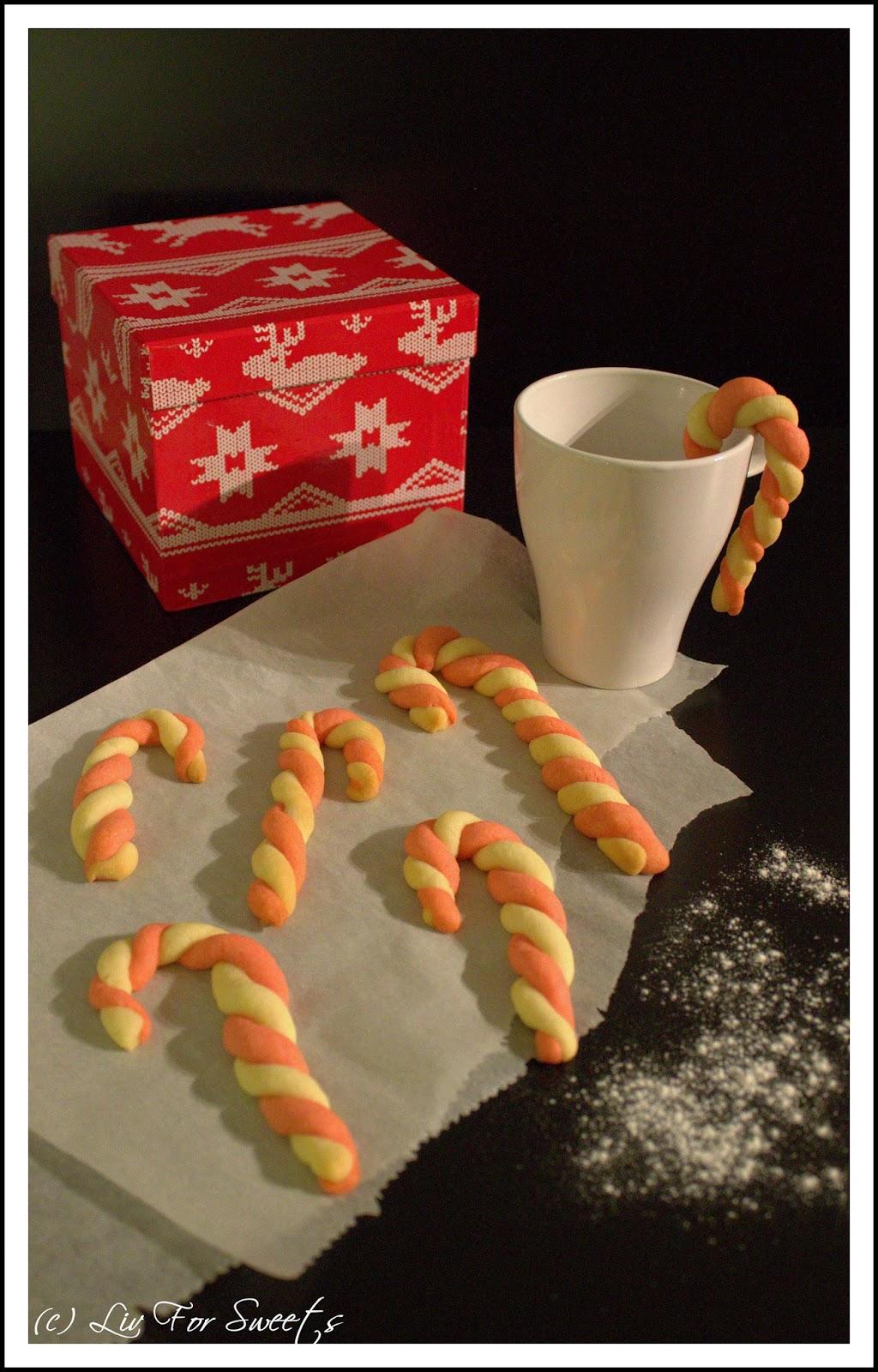 Zuckerstangen-Kekse, Candy Cane Cookies, Weihnachtsbäckerei, Rot, Weiß, Gestreift, Rezept, Thermomix