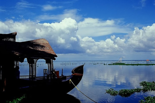 A Boathouse on the placid backwaters of Kumarakom