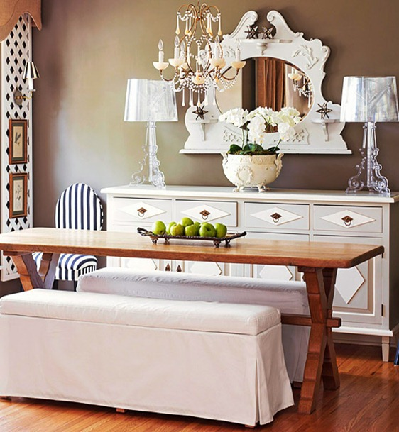 Upholstered Dining Bench with Table