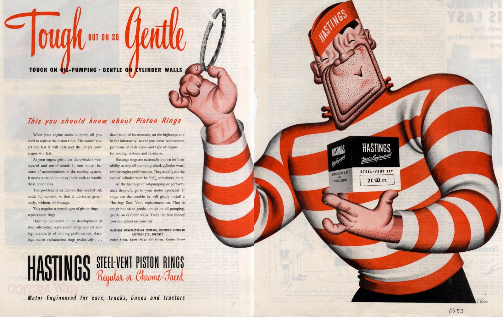 The Visual Primer Of Advertising Cliches Tough But Oh So Gentle Autoette 24 Volt Wiring Diagram Hastings Piston Rings March 1953