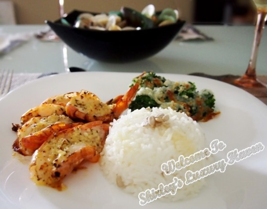 cook for family grilled garlic prawns meal