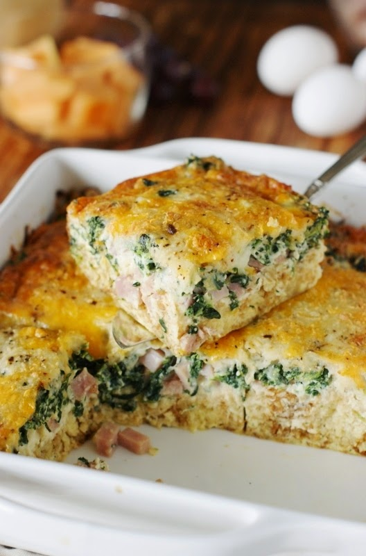 Ham and Cheese Breakfast Casserole with Spinach by The Kitchen is My ...