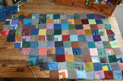knitted mitered square afghan blanket knit with sock yarn
